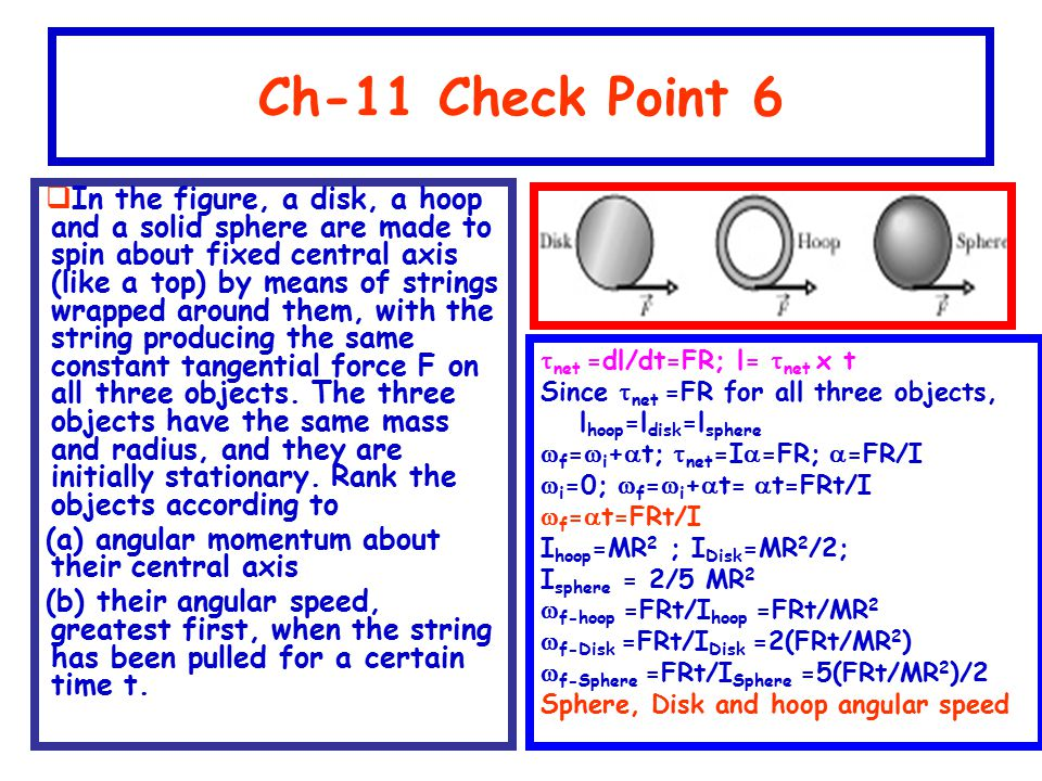 Ch-11 Check Point 6  In the figure, a disk, a hoop and a solid sphere are made to spin about fixed central axis (like a top) by means of strings wrap