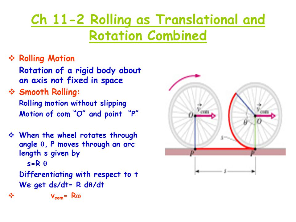 Ch 11-2 Rolling as Translational and Rotation Combined  Rolling Motion Rotation of a rigid body about an axis not fixed in space  Smooth Rolling: Ro