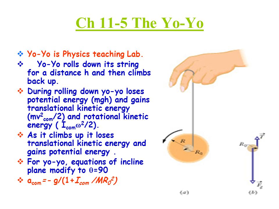 Ch 11-5 The Yo-Yo  Yo-Yo is Physics teaching Lab.  Yo-Yo rolls down its string for a distance h and then climbs back up.  During rolling down yo-yo