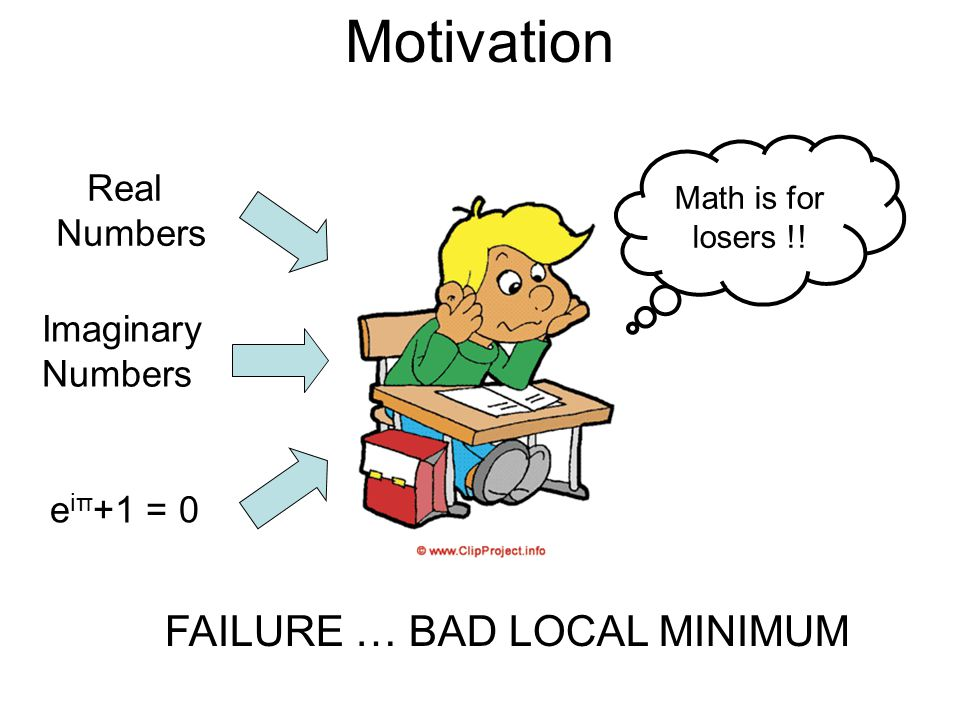 Motivation Real Numbers Imaginary Numbers e iπ +1 = 0 Euler was a Genius!.