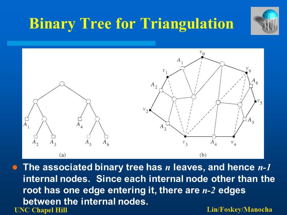 UNC Chapel Hill Lin/Foskey/Manocha Binary Tree for Triangulation The associated binary tree has n leaves, and hence n-1 internal nodes. Since each int