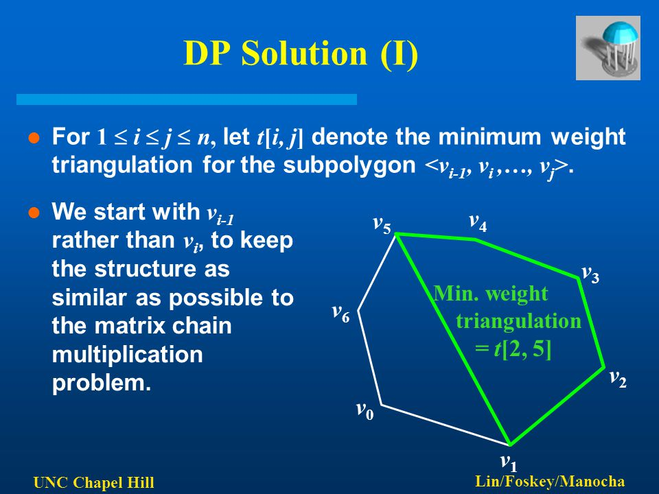 UNC Chapel Hill Lin/Foskey/Manocha DP Solution (I) For 1  i  j  n, let t[i, j] denote the minimum weight triangulation for the subpolygon. v0v0 v5v