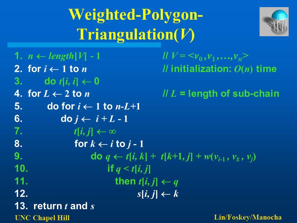 UNC Chapel Hill Lin/Foskey/Manocha Weighted-Polygon- Triangulation(V) 1. n  length[V] - 1 // V = 2. for i  1 to n // initialization: O(n) time 3. do