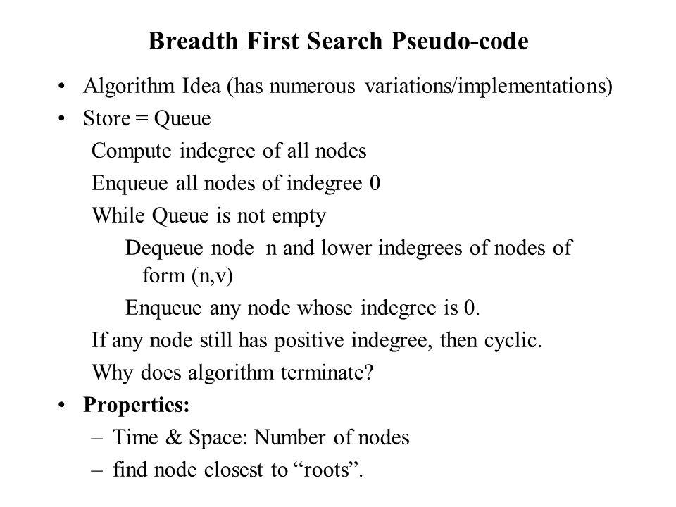 Breadth First Search Pseudo-code Algorithm Idea (has numerous variations/implementations) Store = Queue Compute indegree of all nodes Enqueue all node