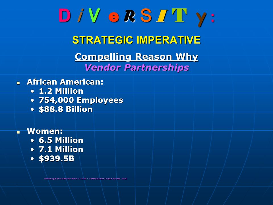 D i V e R S I T y : STRATEGIC IMPERATIVE Compelling Reason Why Vendor Partnerships African American: African American: 1.2 Million1.2 Million 754,000 Employees754,000 Employees $88.8 Billion$88.8 Billion Women: Women: 6.5 Million6.5 Million 7.1 Million7.1 Million $939.5B$939.5B -Pittsburgh Post Gazette NOW, 4.16.06 / -United States Census Bureau, 2002