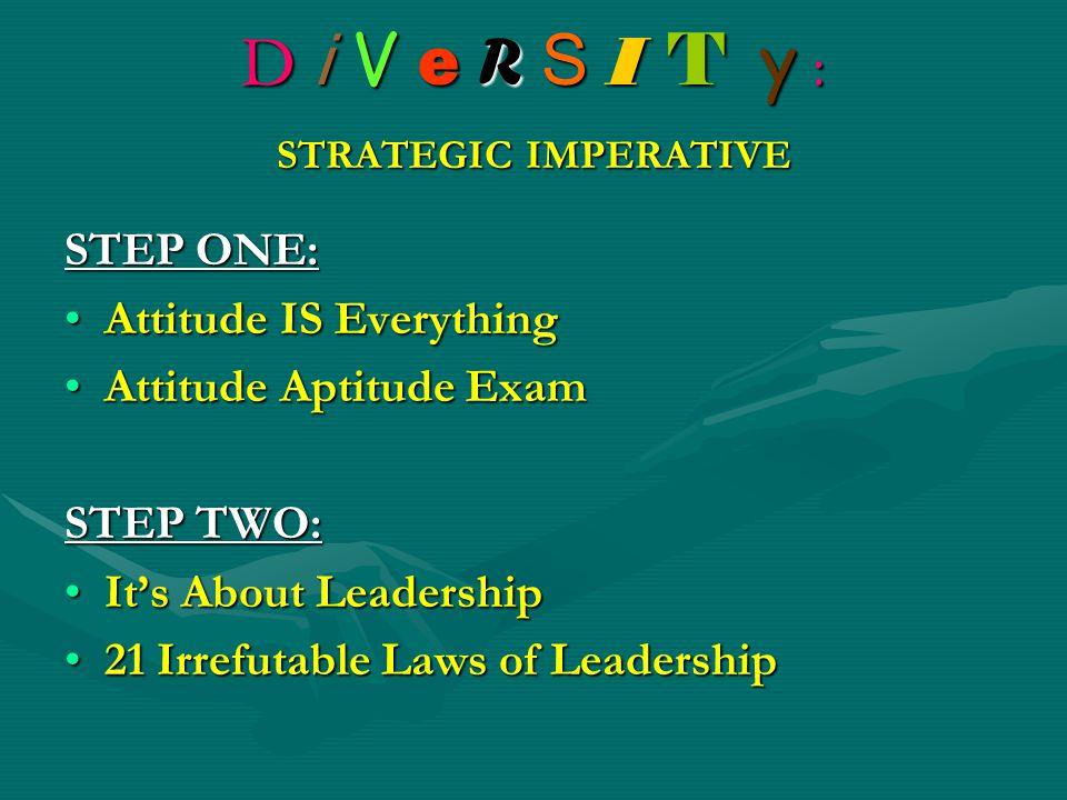 D i V e R S I T y : STRATEGIC IMPERATIVE STEP ONE: Attitude IS EverythingAttitude IS Everything Attitude Aptitude ExamAttitude Aptitude Exam STEP TWO: It's About LeadershipIt's About Leadership 21 Irrefutable Laws of Leadership21 Irrefutable Laws of Leadership