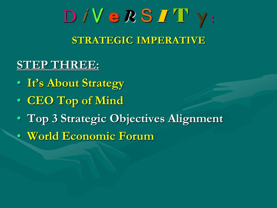D i V e R S I T y : STRATEGIC IMPERATIVE STEP THREE: It's About StrategyIt's About Strategy CEO Top of MindCEO Top of Mind Top 3 Strategic Objectives AlignmentTop 3 Strategic Objectives Alignment World Economic ForumWorld Economic Forum