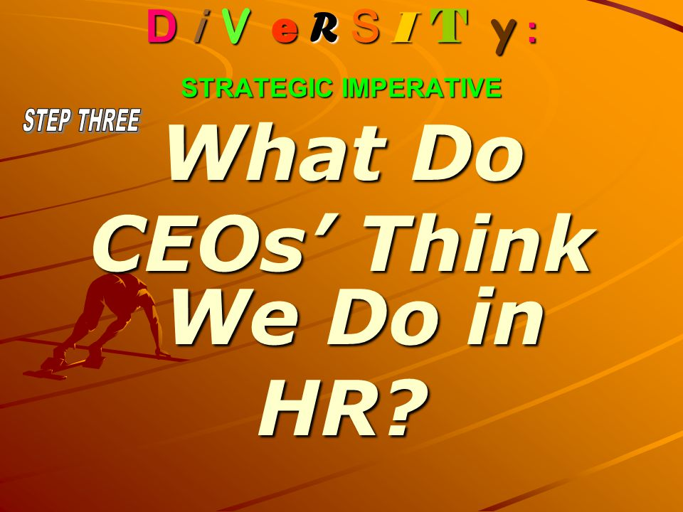 D i V e R S I T y : STRATEGIC IMPERATIVE What Do CEOs' Think We Do in HR