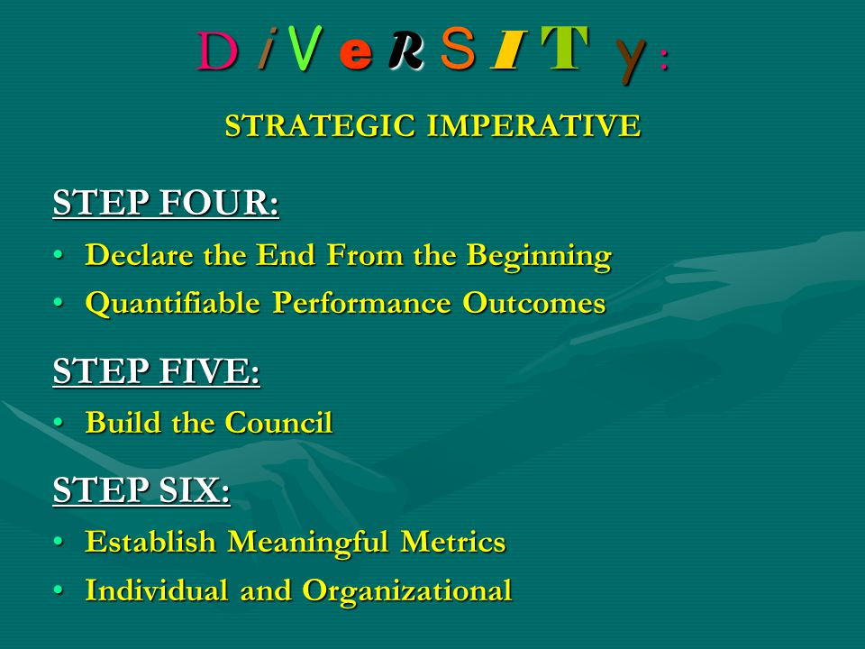 D i V e R S I T y : STRATEGIC IMPERATIVE STEP FOUR: Declare the End From the BeginningDeclare the End From the Beginning Quantifiable Performance Outc