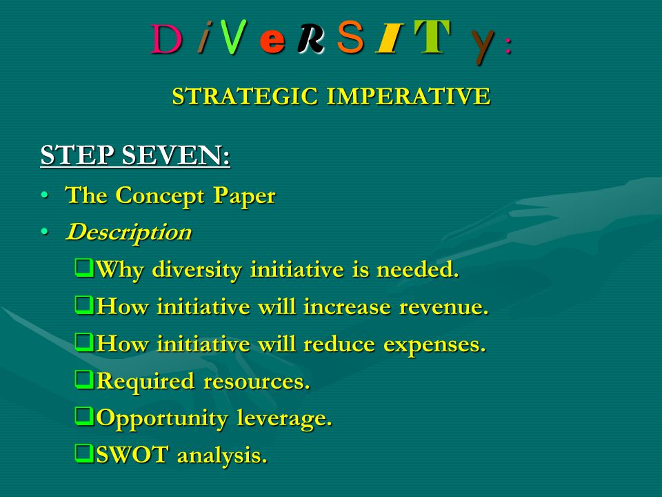 D i V e R S I T y : STRATEGIC IMPERATIVE STEP SEVEN: The Concept PaperThe Concept Paper DescriptionDescription  Why diversity initiative is needed. 