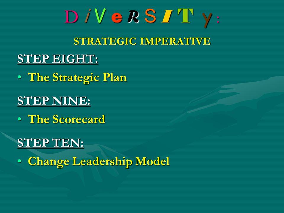 D i V e R S I T y : STRATEGIC IMPERATIVE STEP EIGHT: The Strategic PlanThe Strategic Plan STEP NINE: The ScorecardThe Scorecard STEP TEN: Change Leadership ModelChange Leadership Model