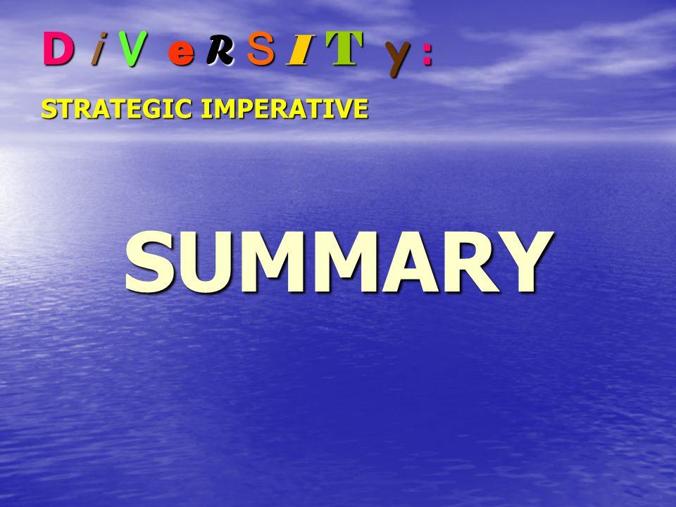 D i V e R S I T y : STRATEGIC IMPERATIVE SUMMARY
