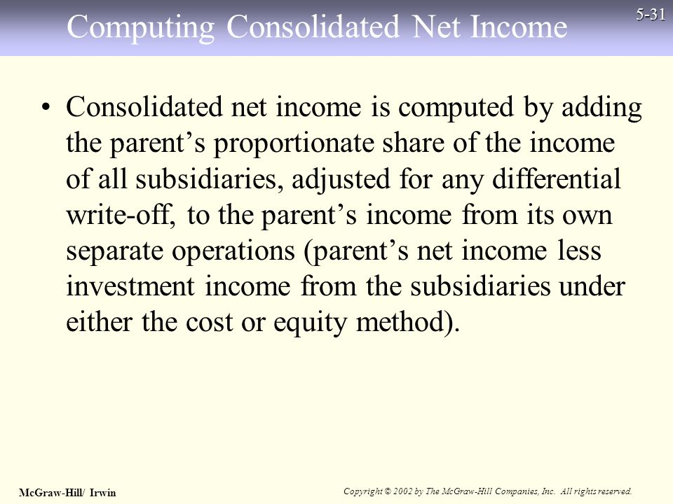 McGraw-Hill/ Irwin Copyright © 2002 by The McGraw-Hill Companies, Inc. All rights reserved. 5-31 Computing Consolidated Net Income Consolidated net in