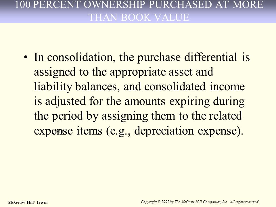 McGraw-Hill/ Irwin Copyright © 2002 by The McGraw-Hill Companies, Inc. All rights reserved. 4-44 In consolidation, the purchase differential is assign