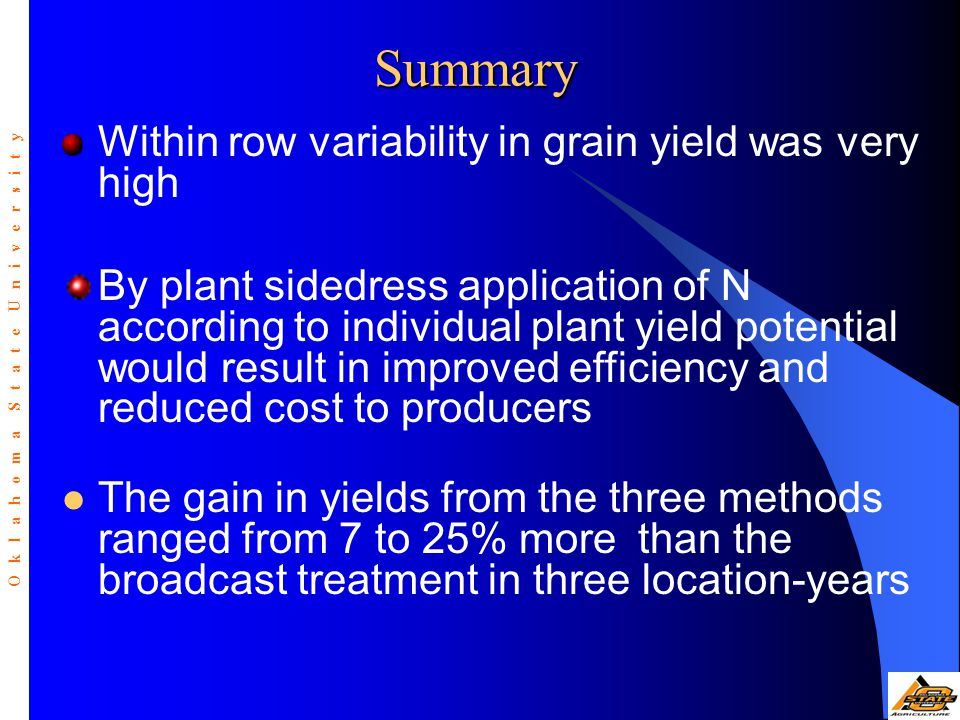 Within row variability in grain yield was very high By plant sidedress application of N according to individual plant yield potential would result in