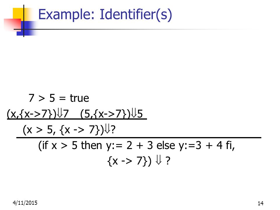 4/11/2015 14 Example: Identifier(s) (2,{x->7})  2 (3,{x->7})  3 7 > 5 = true (2+3, {x->7})  5 (x,{x->7})  7 (5,{x->7})  5 (y:= 2 + 3, {x-> 7} (x > 5, {x -> 7})  .