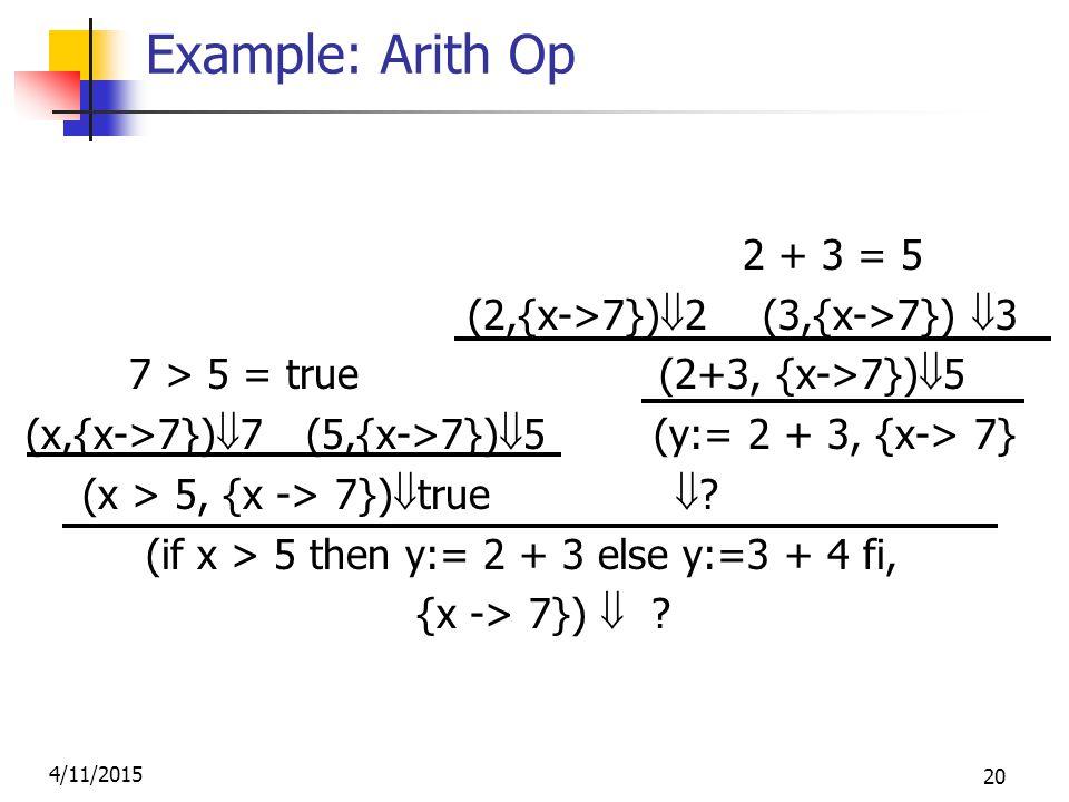 4/11/2015 20 Example: Arith Op 2 + 3 = 5 (2,{x->7})  2 (3,{x->7})  3 7 > 5 = true (2+3, {x->7})  5 (x,{x->7})  7 (5,{x->7})  5 (y:= 2 + 3, {x-> 7} (x > 5, {x -> 7})  true  .
