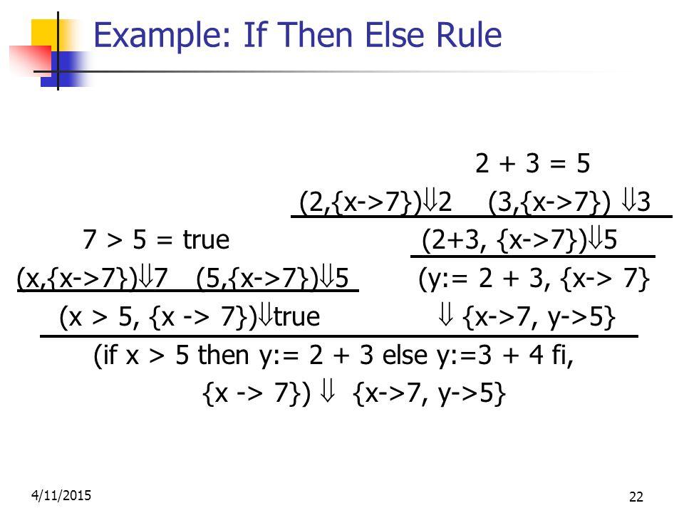 4/11/2015 22 Example: If Then Else Rule 2 + 3 = 5 (2,{x->7})  2 (3,{x->7})  3 7 > 5 = true (2+3, {x->7})  5 (x,{x->7})  7 (5,{x->7})  5 (y:= 2 + 3, {x-> 7} (x > 5, {x -> 7})  true  {x->7, y->5} (if x > 5 then y:= 2 + 3 else y:=3 + 4 fi, {x -> 7})  {x->7, y->5}
