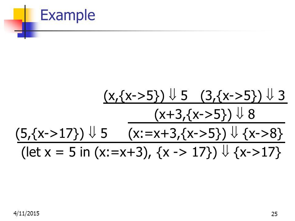 4/11/2015 25 Example (x,{x->5})  5 (3,{x->5})  3 (x+3,{x->5})  8 (5,{x->17})  5 (x:=x+3,{x->5})  {x->8} (let x = 5 in (x:=x+3), {x -> 17})  {x->17}