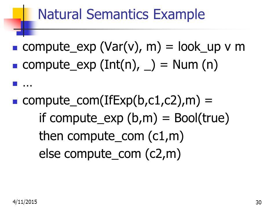 4/11/2015 30 Natural Semantics Example compute_exp (Var(v), m) = look_up v m compute_exp (Int(n), _) = Num (n) … compute_com(IfExp(b,c1,c2),m) = if compute_exp (b,m) = Bool(true) then compute_com (c1,m) else compute_com (c2,m)