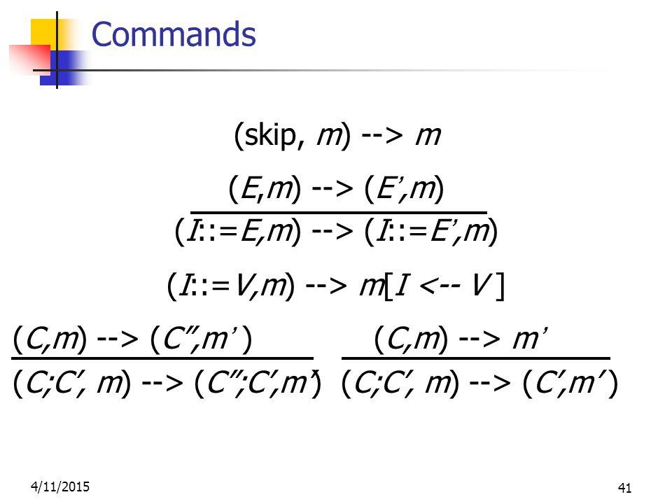 4/11/2015 41 Commands (skip, m) --> m (E,m) --> (E',m) (I::=E,m) --> (I::=E',m) (I::=V,m) --> m[I <-- V ] (C,m) --> (C ,m' ) (C,m) --> m' (C;C', m) --> (C ;C',m') (C;C', m) --> (C',m' )