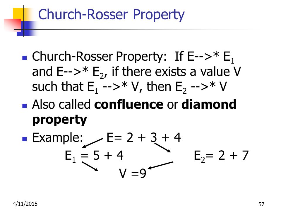 4/11/2015 57 Church-Rosser Property Church-Rosser Property: If E-->* E 1 and E-->* E 2, if there exists a value V such that E 1 -->* V, then E 2 -->* V Also called confluence or diamond property Example: E= 2 + 3 + 4 E 1 = 5 + 4 E 2 = 2 + 7 V =9