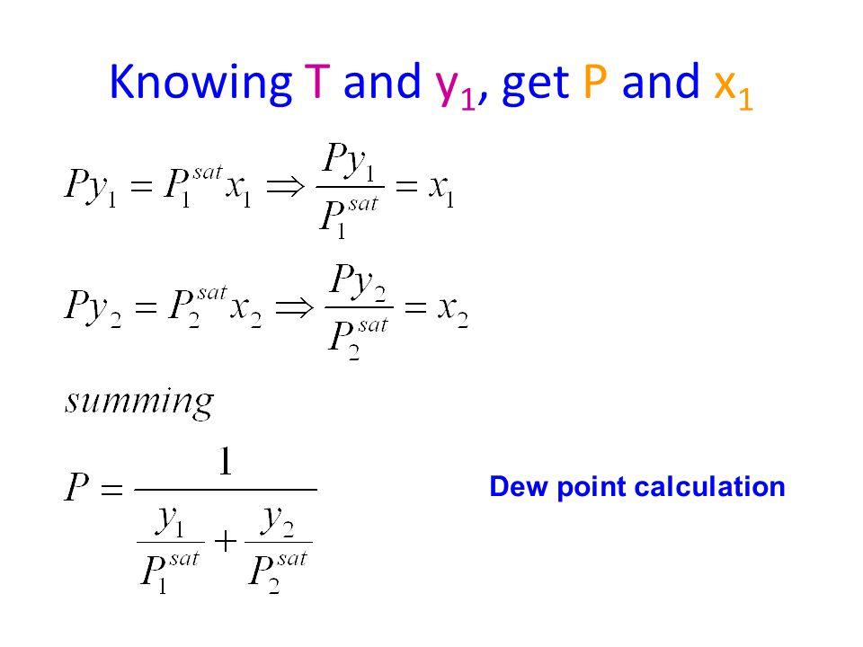 Knowing T and y 1, get P and x 1 Dew point calculation