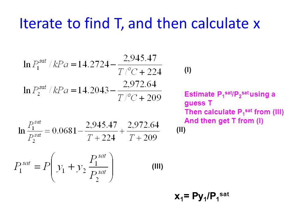 Iterate to find T, and then calculate x Estimate P 1 sat /P 2 sat using a guess T Then calculate P 1 sat from (III) And then get T from (I) (I) (II) (