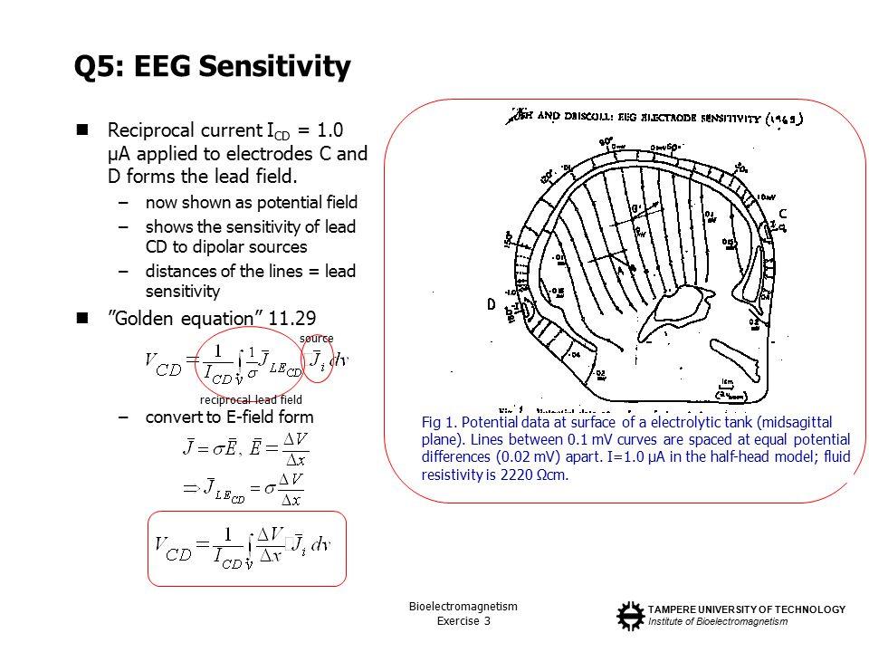 TAMPERE UNIVERSITY OF TECHNOLOGY Institute of Bioelectromagnetism Bioelectromagnetism Exercise 3 Q5: EEG Sensitivity Reciprocal current I CD = 1.0 µA
