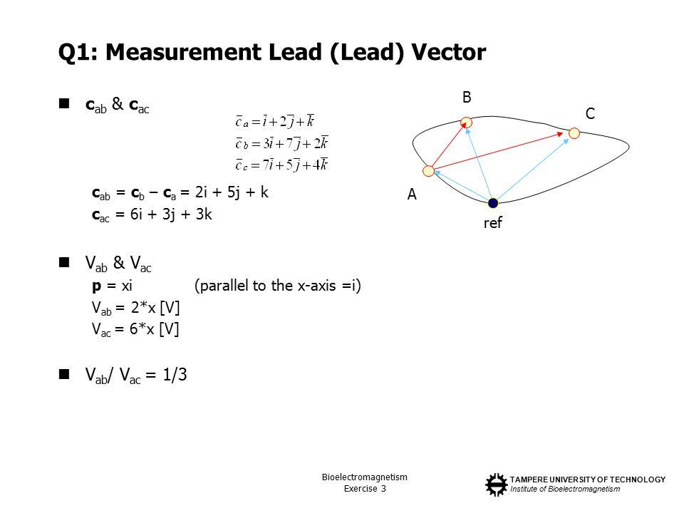 TAMPERE UNIVERSITY OF TECHNOLOGY Institute of Bioelectromagnetism Bioelectromagnetism Exercise 3 Q1: Measurement Lead (Lead) Vector c ab & c ac c ab = c b – c a = 2i + 5j + k c ac = 6i + 3j + 3k V ab & V ac p = xi(parallel to the x-axis =i) V ab = 2*x [V] V ac = 6*x [V] V ab / V ac = 1/3 ref A B C
