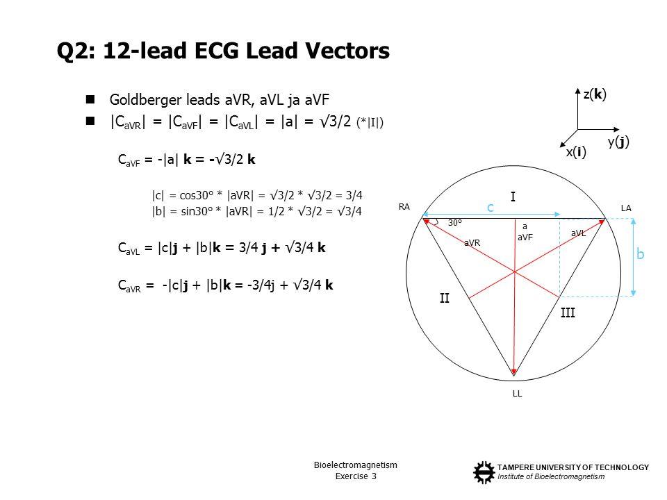 TAMPERE UNIVERSITY OF TECHNOLOGY Institute of Bioelectromagnetism Bioelectromagnetism Exercise 3 Q2: 12-lead ECG Lead Vectors Goldberger leads aVR, aVL ja aVF |C aVR | = |C aVF | = |C aVL | = |a| = √3/2 (*|I|) C aVF = -|a| k = -√3/2 k |c| = cos30° * |aVR| = √3/2 * √3/2 = 3/4 |b| = sin30° * |aVR| = 1/2 * √3/2 = √3/4 C aVL = |c|j + |b|k = 3/4 j + √3/4 k C aVR = -|c|j + |b|k = -3/4j + √3/4 k I II III a aVF 30° LA RA LL aVL aVR c b x(i) y(j) z(k)