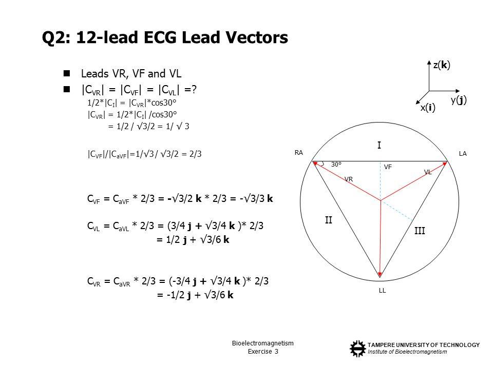 TAMPERE UNIVERSITY OF TECHNOLOGY Institute of Bioelectromagnetism Bioelectromagnetism Exercise 3 Q2: 12-lead ECG Lead Vectors Leads VR, VF and VL |C VR | = |C VF | = |C VL | =.
