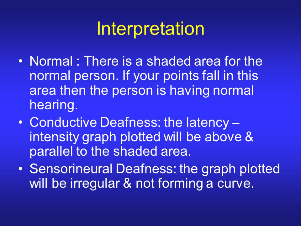 Interpretation Normal : There is a shaded area for the normal person. If your points fall in this area then the person is having normal hearing. Condu
