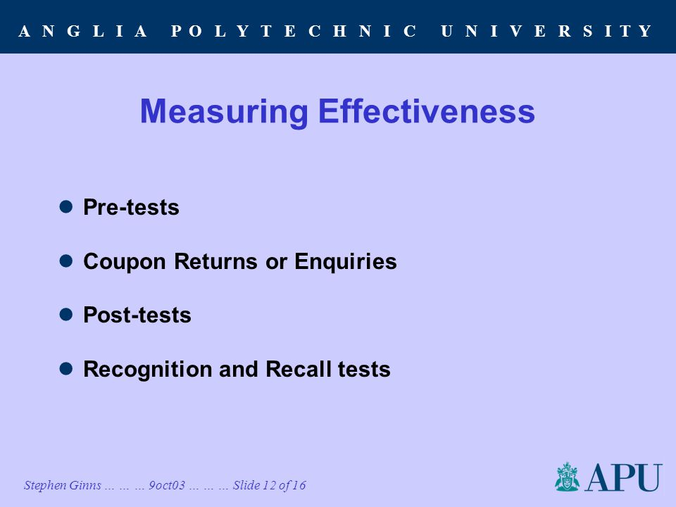 A N G L I A P O L Y T E C H N I C U N I V E R S I T Y Stephen Ginns … … … 9oct03 … … … Slide 12 of 16 Measuring Effectiveness Pre-tests Coupon Returns or Enquiries Post-tests Recognition and Recall tests
