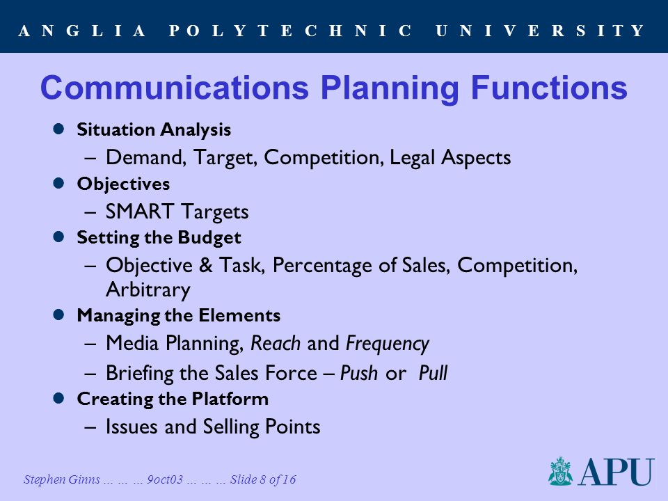 A N G L I A P O L Y T E C H N I C U N I V E R S I T Y Stephen Ginns … … … 9oct03 … … … Slide 8 of 16 Communications Planning Functions Situation Analysis –Demand, Target, Competition, Legal Aspects Objectives –SMART Targets Setting the Budget –Objective & Task, Percentage of Sales, Competition, Arbitrary Managing the Elements –Media Planning, Reach and Frequency –Briefing the Sales Force – Push or Pull Creating the Platform –Issues and Selling Points