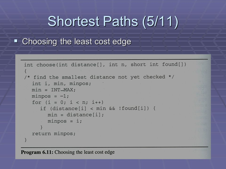 Shortest Paths (5/11)  Choosing the least cost edge