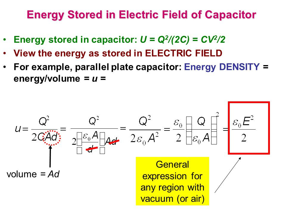 Energy Stored in Electric Field of Capacitor Energy stored in capacitor: U = Q 2 /(2C) = CV 2 /2 View the energy as stored in ELECTRIC FIELD For examp