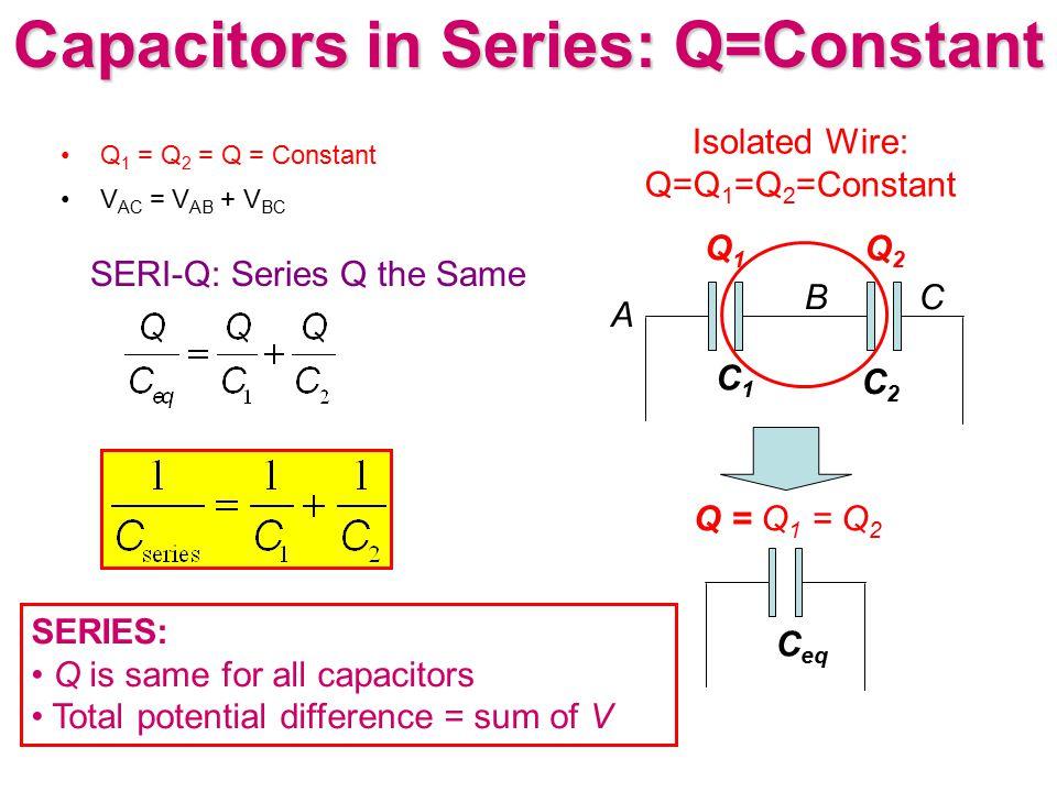 Capacitors in Series: Q=Constant Q 1 = Q 2 = Q = Constant V AC = V AB + V BC A BC C1C1 C2C2 Q1Q1 Q2Q2 C eq Q = Q 1 = Q 2 SERIES: Q is same for all cap