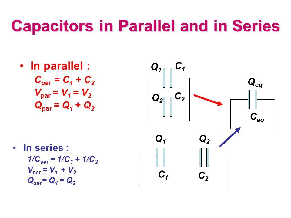 Capacitors in Parallel and in Series In series : 1/C ser = 1/C 1 + 1/C 2 V ser = V 1 + V 2 Q ser = Q 1 = Q 2 C1C1 C2C2 Q1Q1 Q2Q2 C1C1 C2C2 Q1Q1 Q2Q2 I