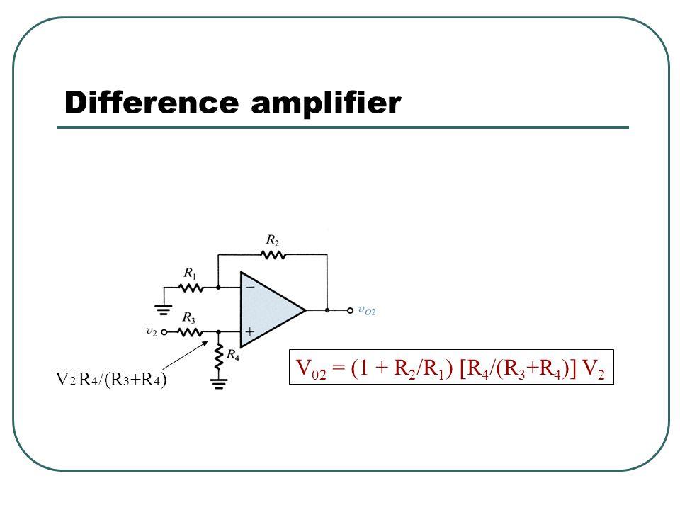 Difference amplifier Use superposition, set V 1 = 0, solve for Vo (noninverting amp) set V 2 = 0, solve for Vo (inverting amp)