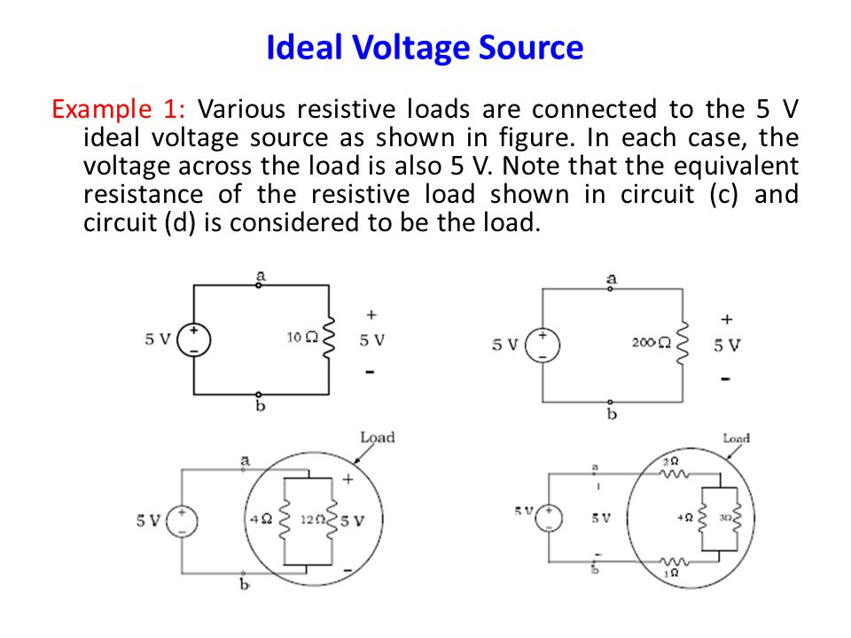 Ideal Voltage Source Ideal Voltage Source: The symbol of an ideal voltage source is shown below. The value of the voltage source is V volts and the te