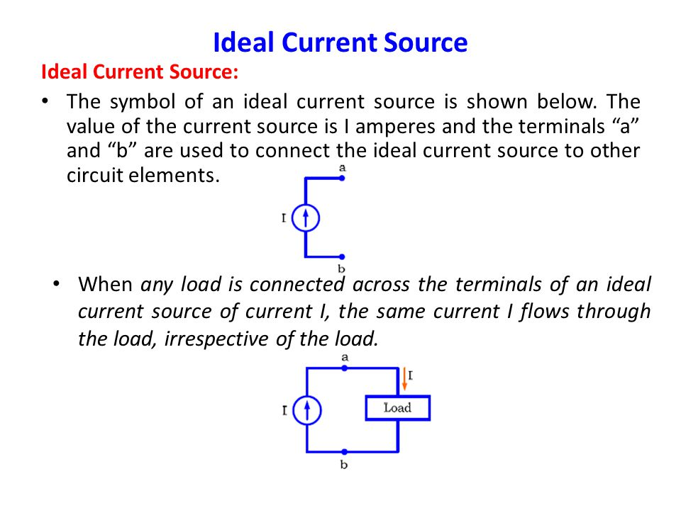 Example 2: Calculate the current I in the following circuit: Ideal Voltage Source