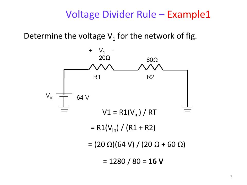 6 The voltage associated with one resistor R n in a chain of multiple resistors in series is: or where V total is the total of the voltages applied ac