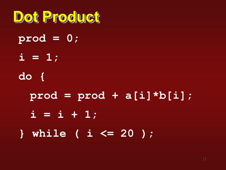 11 Dot Product prod = 0; i = 1; do { prod = prod + a[i]*b[i]; i = i + 1; } while ( i <= 20 );