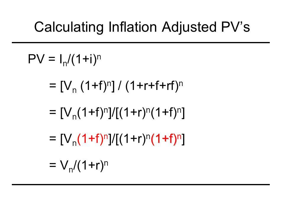 Calculating Inflation Adjusted PV's PV = I n /(1+i) n = [V n (1+f) n ] / (1+r+f+rf) n = [V n (1+f) n ]/[(1+r) n (1+f) n ] (1+f) n = [V n (1+f) n ]/[(1