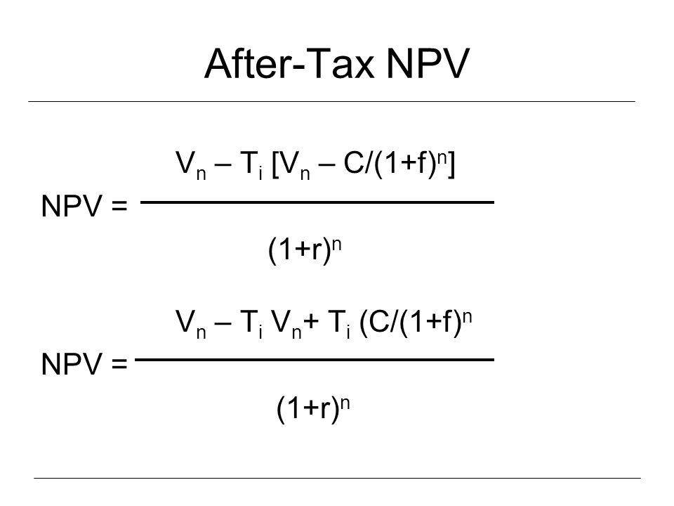 After-Tax NPV V n – T i [V n – C/(1+f) n ] NPV = (1+r) n V n – T i V n + T i (C/(1+f) n NPV = (1+r) n