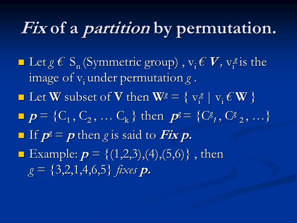 Fix of a partition by permutation.