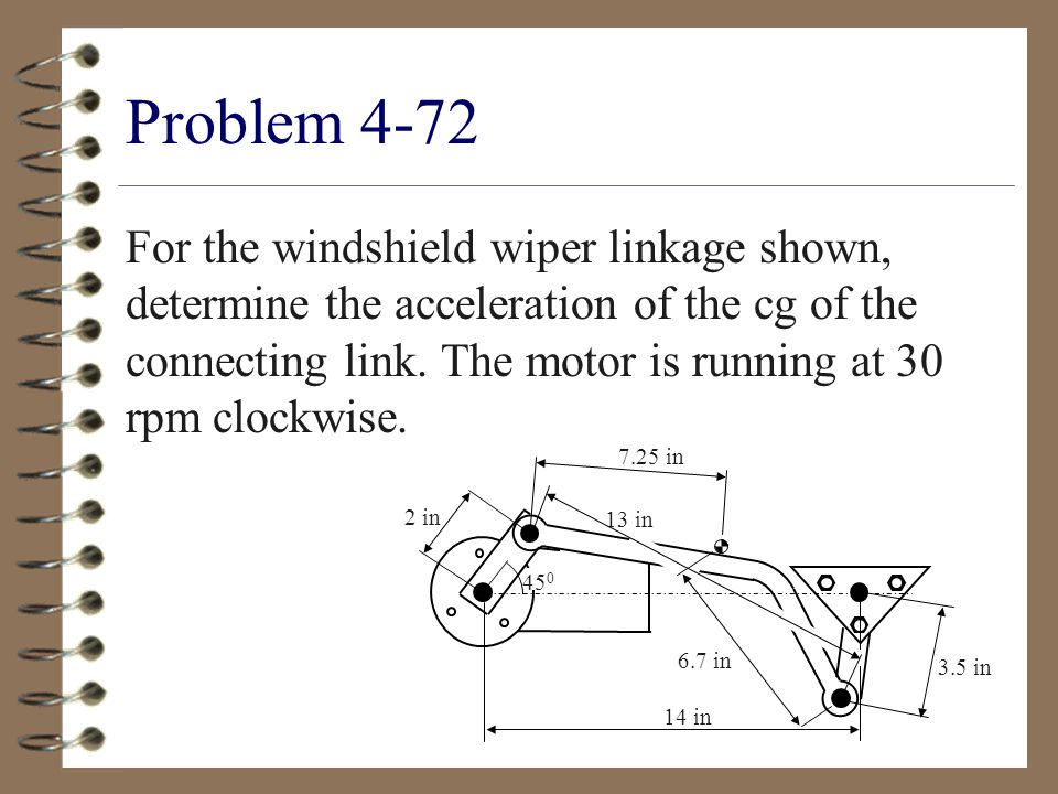 Problem 4-72 For the windshield wiper linkage shown, determine the acceleration of the cg of the connecting link.