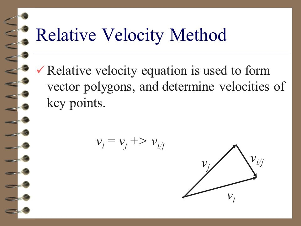 Relative Velocity Method Relative velocity equation is used to form vector polygons, and determine velocities of key points.