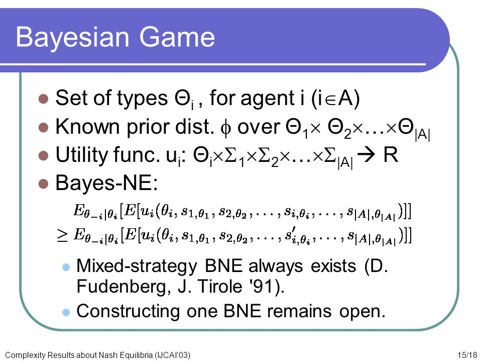 15/18Complexity Results about Nash Equilibria (IJCAI'03) Bayesian Game Set of types Θ i, for agent i (i  A) Known prior dist.